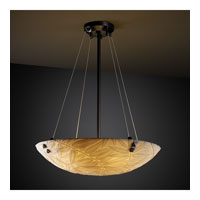Justice Design PNA-9661-35-BMBO-MBLK-F3 Porcelina 3 Light 21 inch Matte Black Pendant Bowl Ceiling Light in Pair of Square with Points, Round Bowl, Bamboo photo thumbnail