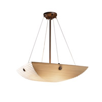 Justice Design PNA-9662-25-SAWT-DBRZ-F6 Porcelina 6 Light 27 inch Dark Bronze Pendant Bowl Ceiling Light in Concentric Circles, Square Bowl, Sawtooth photo thumbnail