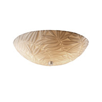 Porcelina 3 Light 18 inch Brushed Nickel Semi-Flush Bowl Ceiling Light in Round Bowl, Bamboo
