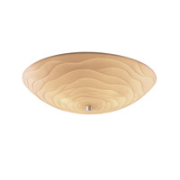 Porcelina 6 Light 24 inch Brushed Nickel Semi-Flush Bowl Ceiling Light in Round Bowl, Waves