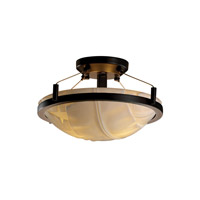 Porcelina 2 Light 16 inch Dark Bronze Semi-Flush Bowl Ceiling Light in Banana Leaf