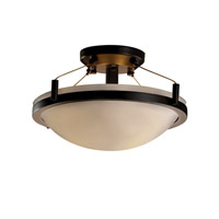 Porcelina 2 Light 16 inch Dark Bronze Semi-Flush Bowl Ceiling Light in Smooth
