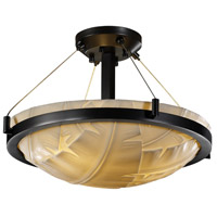 Porcelina 3 Light 21 inch Matte Black Semi-Flush Bowl Ceiling Light in Banana Leaf