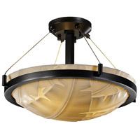 Justice Design PNA-9681-35-BANL-DBRZ-LED3-3000 Porcelina LED 18 inch Dark Bronze Semi-Flush Ceiling Light in 3000 Lm LED, Banana Leaf