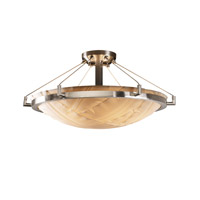 Porcelina 6 Light 27 inch Brushed Nickel Semi-Flush Bowl Ceiling Light in Banana Leaf