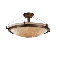 Porcelina 6 Light 27 inch Dark Bronze Semi-Flush Bowl Ceiling Light in Bamboo