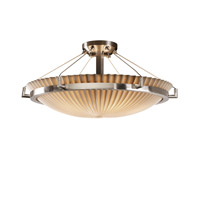 Porcelina 6 Light 27 inch Brushed Nickel Semi-Flush Bowl Ceiling Light in Pleats