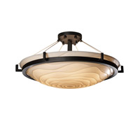Porcelina 6 Light 27 inch Matte Black Semi-Flush Bowl Ceiling Light in Waves