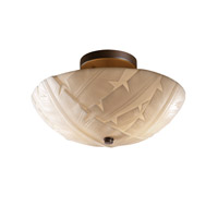 Porcelina 2 Light 14 inch Dark Bronze Semi-Flush Bowl Ceiling Light in Banana Leaf