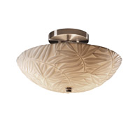 Porcelina 2 Light 14 inch Brushed Nickel Semi-Flush Bowl Ceiling Light in Bamboo