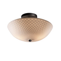 Signature 2 Light 14 inch Matte Black Semi-Flush Ceiling Light in Checkerboard