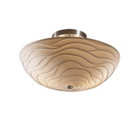 Signature 2 Light 14 inch Brushed Nickel Semi-Flush Ceiling Light in Waves