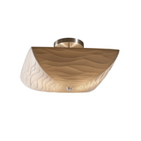 Justice Design PNA-9695-25-WAVE-NCKL Porcelina 2 Light 14 inch Brushed Nickel Semi-Flush Bowl Ceiling Light in Waves photo thumbnail