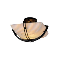 Porcelina 2 Light 17 inch Matte Black Semi-Flush Bowl Ceiling Light in Square Bowl, Pleats