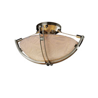 Porcelina 2 Light 17 inch Brushed Nickel Semi-Flush Bowl Ceiling Light in Round Bowl, Bamboo