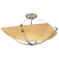 Porcelina 3 Light 22 inch Brushed Nickel Semi-Flush Bowl Ceiling Light in Square Bowl, Sawtooth