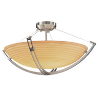 Justice Design PNA-9711-35-SAWT-NCKL Porcelina 3 Light 22 inch Brushed Nickel Semi-Flush Bowl Ceiling Light in Round Bowl, Sawtooth photo thumbnail