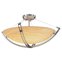 Justice Design PNA-9711-35-WAVE-NCKL Porcelina 3 Light 22 inch Brushed Nickel Semi-Flush Bowl Ceiling Light in Round Bowl, Waves photo thumbnail