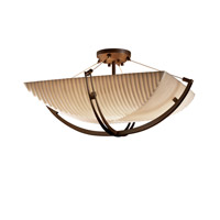 Porcelina 6 Light 28 inch Dark Bronze Semi-Flush Bowl Ceiling Light in Square Bowl, Pleats
