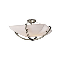 Justice Design PNA-9712-25-SMTH-NCKL Porcelina 6 Light 28 inch Brushed Nickel Semi-Flush Bowl Ceiling Light in Square Bowl, Smooth photo thumbnail