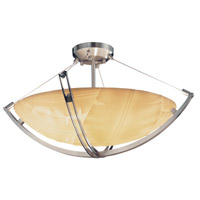 Porcelina 6 Light 28 inch Brushed Nickel Semi-Flush Bowl Ceiling Light in Round Bowl, Banana Leaf