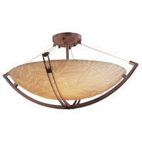 Porcelina 6 Light 28 inch Dark Bronze Semi-Flush Bowl Ceiling Light in Round Bowl, Bamboo