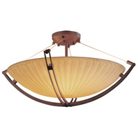 Porcelina 6 Light 28 inch Dark Bronze Semi-Flush Bowl Ceiling Light in Round Bowl, Waterfall