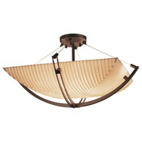 Porcelina 8 Light 42 inch Dark Bronze Semi-Flush Bowl Ceiling Light in Square Bowl, Pleats