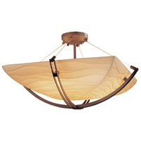 Porcelina 8 Light 42 inch Dark Bronze Semi-Flush Bowl Ceiling Light in Square Bowl, Waves