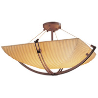 Porcelina 8 Light 42 inch Dark Bronze Semi-Flush Bowl Ceiling Light in Square Bowl, Waterfall