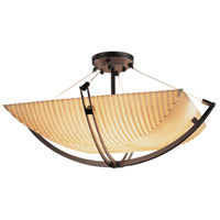 Porcelina 8 Light 55 inch Dark Bronze Semi-Flush Bowl Ceiling Light in Pleats, Square Bowl, Incandescent
