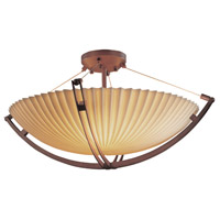 Porcelina 8 Light 55 inch Dark Bronze Semi-Flush Bowl Ceiling Light in Pleats, Round Bowl, Incandescent