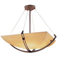 Justice Design PNA-9721-25-SAWT-DBRZ Porcelina 3 Light 22 inch Dark Bronze Pendant Bowl Ceiling Light in Square Bowl, Sawtooth photo thumbnail