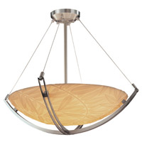 Porcelina 3 Light 22 inch Brushed Nickel Pendant Bowl Ceiling Light in Round Bowl, Bamboo