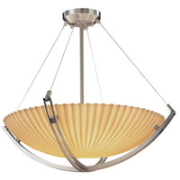Justice Design PNA-9721-35-PLET-NCKL Porcelina 3 Light 22 inch Brushed Nickel Pendant Bowl Ceiling Light in Round Bowl, Pleats photo thumbnail