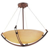 Porcelina 3 Light 22 inch Dark Bronze Pendant Bowl Ceiling Light in Round Bowl, Sawtooth