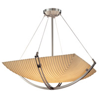 Justice Design PNA-9722-25-PLET-NCKL Porcelina 6 Light 28 inch Brushed Nickel Pendant Bowl Ceiling Light in Square Bowl, Pleats photo thumbnail