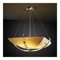 Justice Design PNA-9722-25-SAWT-NCKL Porcelina 6 Light 28 inch Brushed Nickel Pendant Bowl Ceiling Light in Square Bowl, Sawtooth photo thumbnail