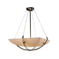 Porcelina 6 Light 28 inch Brushed Nickel Pendant Bowl Ceiling Light in Square Bowl, Smooth