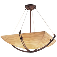 Justice Design PNA-9722-25-WAVE-DBRZ Porcelina 6 Light 28 inch Dark Bronze Pendant Bowl Ceiling Light in Square Bowl, Waves photo thumbnail