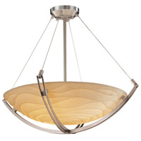 Justice Design PNA-9722-35-WAVE-NCKL Porcelina 6 Light 28 inch Brushed Nickel Pendant Bowl Ceiling Light in Round Bowl, Waves photo thumbnail