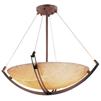 Porcelina 8 Light 42 inch Dark Bronze Pendant Bowl Ceiling Light in Round Bowl, Banana Leaf