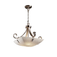 Porcelina 3 Light 24 inch Brushed Nickel Pendant Bowl Ceiling Light in Pair of Squares, Square Bowl, Waterfall