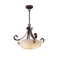 Porcelina 3 Light 24 inch Dark Bronze Pendant Bowl Ceiling Light in Pair of Cylinders, Round Bowl, Bamboo