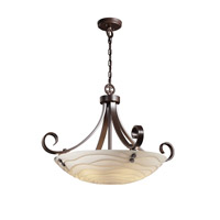 Porcelina 6 Light 31 inch Dark Bronze Pendant Bowl Ceiling Light in Pair of Cylinders, Round Bowl, Waves