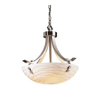 Porcelina 3 Light 24 inch Brushed Nickel Pendant Bowl Ceiling Light in Pair of Cylinders, Round Bowl, Waves
