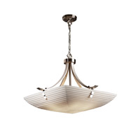 Porcelina 6 Light 30 inch Brushed Nickel Pendant Bowl Ceiling Light in Pair of Squares, Square Bowl, Sawtooth
