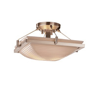 Porcelina 2 Light 16 inch Brushed Nickel Semi-Flush Bowl Ceiling Light in Sawtooth