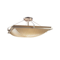 Porcelina 3 Light 20 inch Brushed Nickel Semi-Flush Bowl Ceiling Light in Pleats