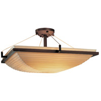 Porcelina 3 Light 20 inch Dark Bronze Semi-Flush Bowl Ceiling Light in Sawtooth